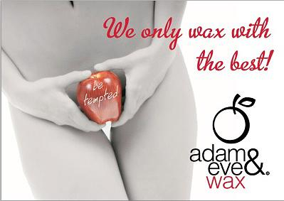 Women holding apple over private parts advertising Adam & Eve intimate wax